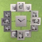 All Aluminium Wall Clock with 12 Photo Frames